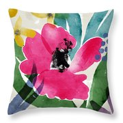 Spring Garden Pink- Floral Art By Linda Woods Throw Pillow