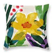 Spring Garden Yellow- Floral Art By Linda Woods Throw Pillow