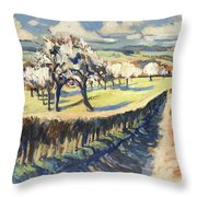 Spring In The Bellet Fruit Orchard Throw Pillow