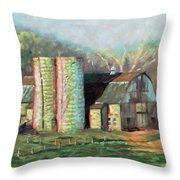 Spring On The Farm - Old Barn With Two Silos Throw Pillow