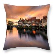 Spring Sunset In Enkhuizen Throw Pillow