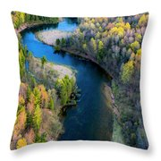 Springtime On The Manistee River Aerial Throw Pillow
