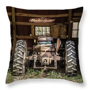 Square Format Old Tractor In The Barn Vermont Throw Pillow