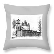 St. Mary's Mission, Stevensville, Montana Throw Pillow