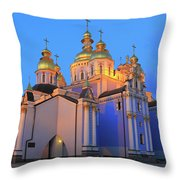 St Michael's Golden-domed Monastery At Dusk Kiev Ukraine Throw Pillow