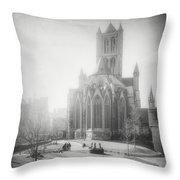 St Nicholas Church Ghent Belgium Black And White Throw Pillow
