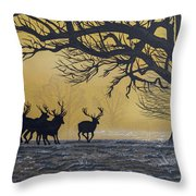 Stags At Dawn Throw Pillow