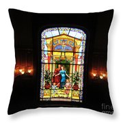 Stained Glass At Moody Mansion Throw Pillow