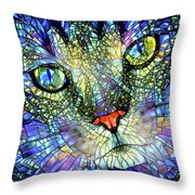 Stained Glass Cat Art Throw Pillow