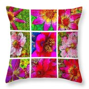 Stained Glass Pink Flower Collage  Throw Pillow