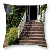 Stairs Leading To The Entrance Of A House Throw Pillow