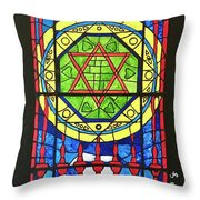 Star Of David Stained Glass Throw Pillow
