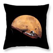 Starman In Orbit Around Mars Throw Pillow