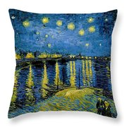 Starry Night - Digital Remastered Edition Throw Pillow