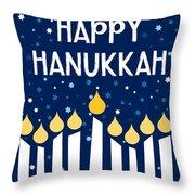 Starry Night Hanukkah Menorah- Art By Linda Woods Throw Pillow