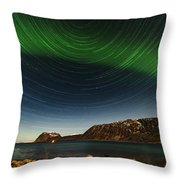 Startrail Over Northern Lights Throw Pillow