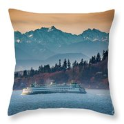State Ferry And The Olympics Throw Pillow