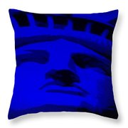 Statue Of Liberty In Blue Throw Pillow