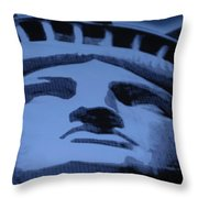 Statue Of Liberty In Cyan Throw Pillow
