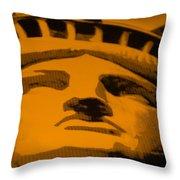 Statue Of Liberty In Orange Throw Pillow