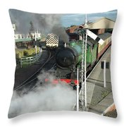 Steam Train Leaving Station Throw Pillow