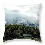 Steaming White Mountains Throw Pillow
