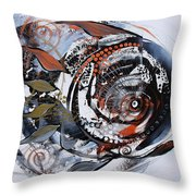 Steampunk Metallic Fish Throw Pillow