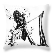 Steven Tyler Microphone Aerosmith Black And White Watercolor 01 Throw Pillow