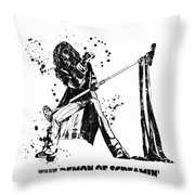 Steven Tyler Microphone Aerosmith Black And White Watercolor 04 Throw Pillow