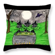 Stick Cats #2 Throw Pillow