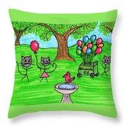 Stick Cats #7 Throw Pillow
