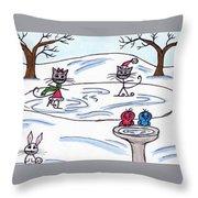 Stick Cats #9 Throw Pillow