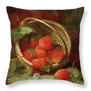 Still Life Of Strawberries With A Cabbage White Butterfly Throw Pillow