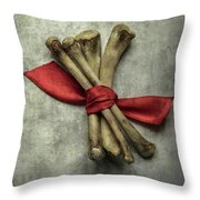 Still Life With Bones And Red Ribbon Throw Pillow