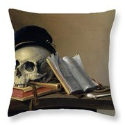 Still Life With Skull, Books, Flute And Pipe Throw Pillow