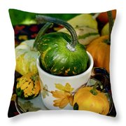 Still Live With Autumn Coffee Cup And Gourds Throw Pillow