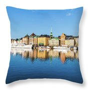 Stockholm Old City Fantastic Golden Hour Sunrise Reflection In The Baltic Sea Throw Pillow