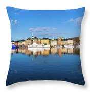 Stockholm Old City Sunrise Reflection In The Baltic Sea Throw Pillow
