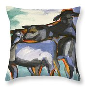 Stone Barn Cows Throw Pillow