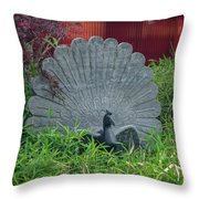 Stone Carved Peacock Throw Pillow