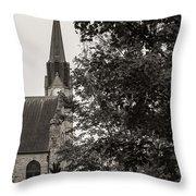 Stone Chapel - Black And White Throw Pillow