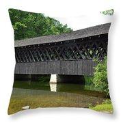 Stone Mountain Covered Bridge Panorama View Throw Pillow