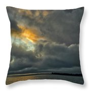 Storm Approaches At Sunset Throw Pillow