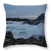 Storm At The Norwegian Coastline Throw Pillow
