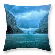 Storm Clouds Invade Ha Long Bay Blue Rain  Throw Pillow