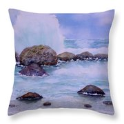 Stormy Shore On Nisyros Greece Throw Pillow