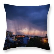 Stormy Weather Over The Small Town Throw Pillow