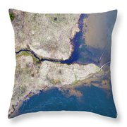 Stream Along Manistee River Aerial Throw Pillow