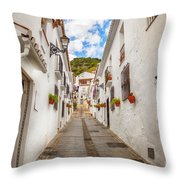 street in Mijas, Spain Throw Pillow by Ariadna De Raadt