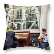Street Musicians - Paris Throw Pillow by Brian Jannsen